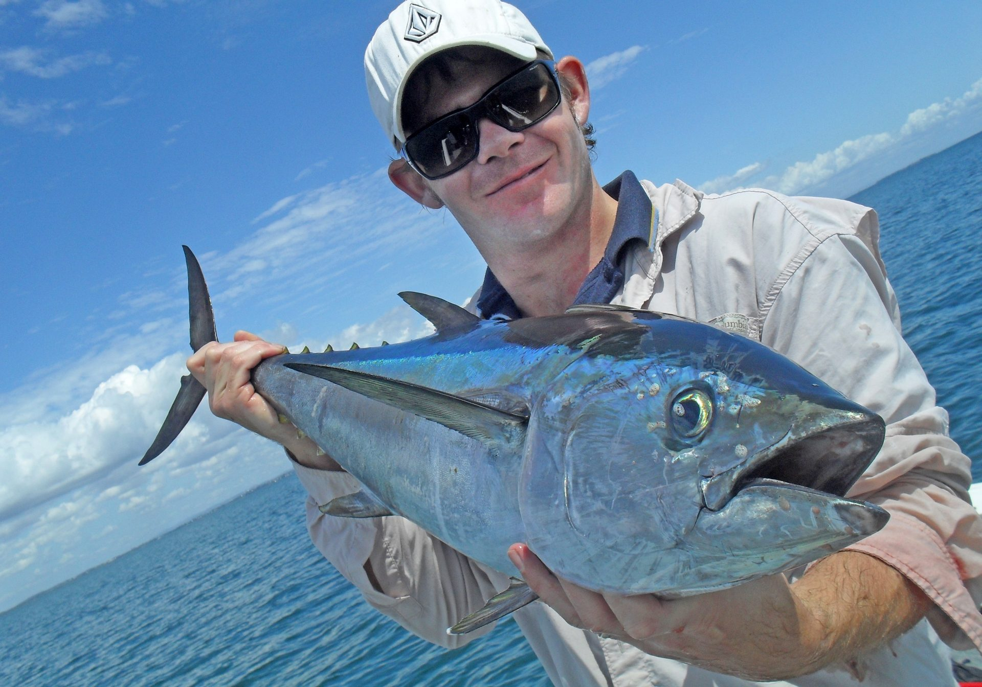The result – a 7-8kg longtail tuna caught on a 3-inch Atomic Slider