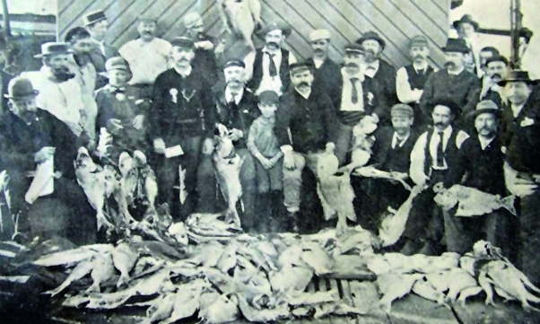 """""""They weren't really on the chew today but not a bad day out nevertheless..."""" - Catch from a snapper fishing trip on the steam ship Tarshaw, south-east QLD around 1900.  Source Welsby (1905) extracted from Thurstan and co-authors 2014 Historic catch rates for snapper."""